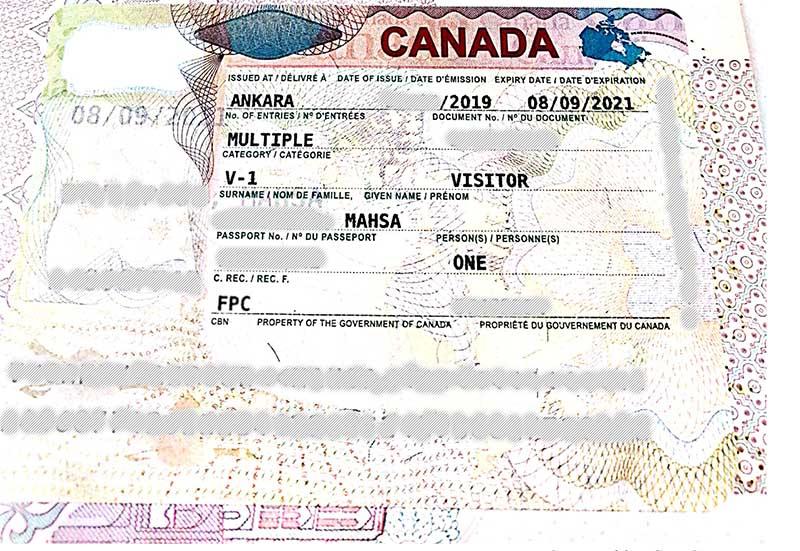 عکس ویزای کانادا