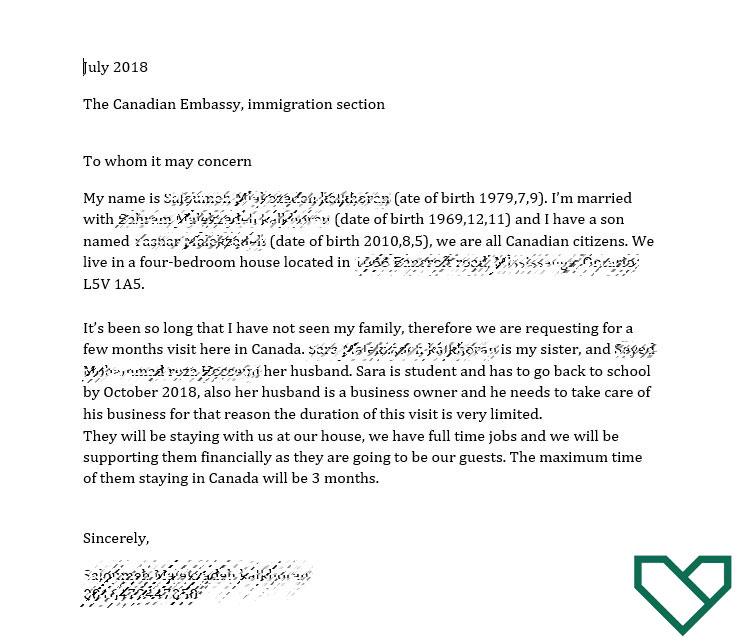 دعوت نامه خویشاوندی کانادا