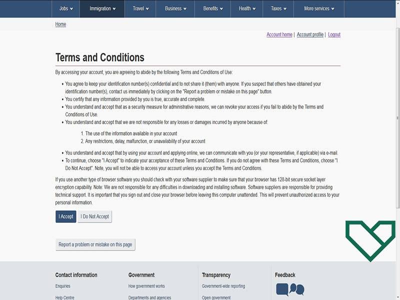 شرایط استفاده از سایت سفارت کانادا